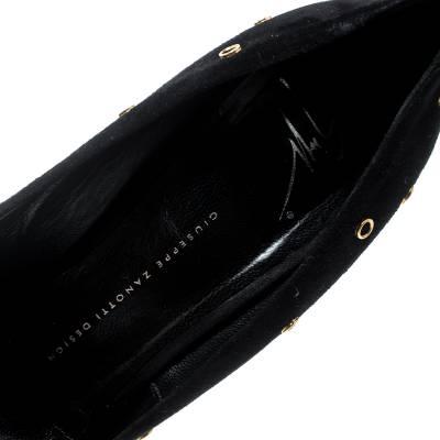 Giuseppe Zanotti Design Black Suede Eyelet Detail Peep Toe Pumps Size 41 187825 - 6