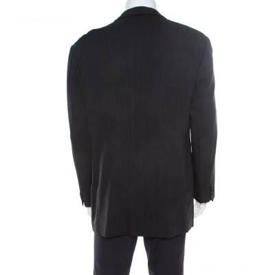 Armani Collezioni Charcoal Grey Herringbone Wool Three Button Blazer XL 186208 - 2