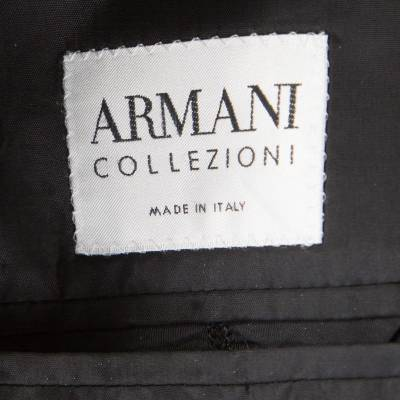 Armani Collezioni Charcoal Grey Herringbone Wool Three Button Blazer XL 186208 - 4