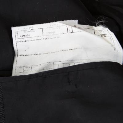Armani Collezioni Charcoal Grey Herringbone Wool Three Button Blazer XL 186208 - 5