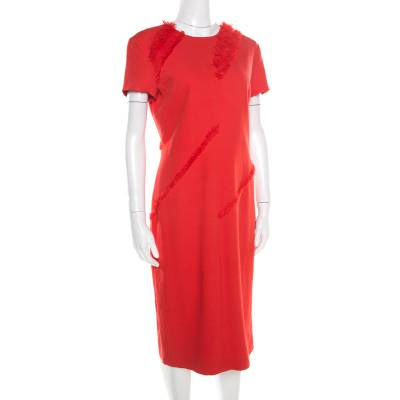 Altuzarra Poppy Red Frayed Trim Crepe Strider Dress L 185941 - 2