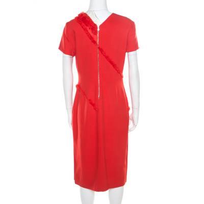 Altuzarra Poppy Red Frayed Trim Crepe Strider Dress L 185941 - 3