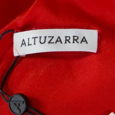 Altuzarra Poppy Red Frayed Trim Crepe Strider Dress L 185941 - 5
