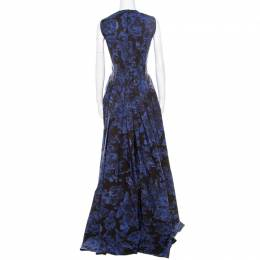 Max Mara Black and Blue Floral Printed Sleeveless Acinoso Gown S 186864