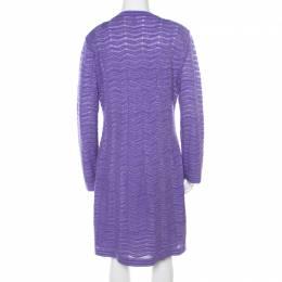 M Missoni Purple Chevron Pattern Perforated Knit Long Sleeve Dress L 187196