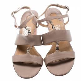 Salvatore Ferragamo Beige Leather Block Heel Open Toe Sandals Size 36.5 194325
