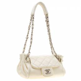 Chanel Off White Leather CC Accordion Flap Shoulder Bag 196689