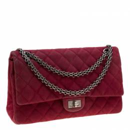 Chanel Burgundy Quilted Caviar Nubuck Reissue 2.55 Classic 226 Flap Bag 205288