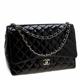 Chanel Black Quilted Patent Leather Maxi Classic Single Flap Bag 204859