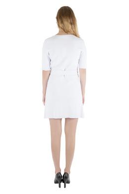Carven White Rib Knit Belted Short Sleeve Skater Dress L 204554