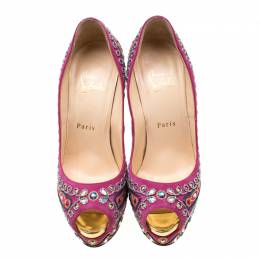 Christian Louboutin Pink Embroidered Suede Peep Toe Platform Pumps Size 38 206351