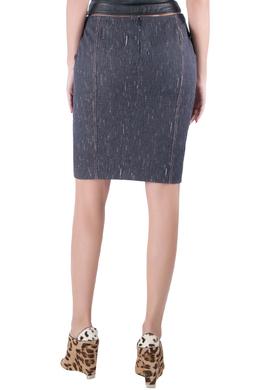 Versace Indigo Textured Denim Hook Detail Pencil Skirt M 206261