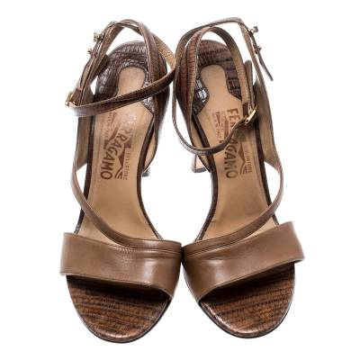 Salvatore Ferragamo Brown Leather And Lizard Leather Ankle Wrap Sandals Size 37.5 183874 - 2