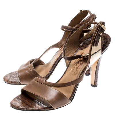 Salvatore Ferragamo Brown Leather And Lizard Leather Ankle Wrap Sandals Size 37.5 183874 - 3