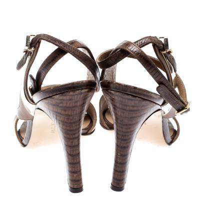 Salvatore Ferragamo Brown Leather And Lizard Leather Ankle Wrap Sandals Size 37.5 183874 - 4