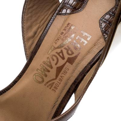 Salvatore Ferragamo Brown Leather And Lizard Leather Ankle Wrap Sandals Size 37.5 183874 - 6