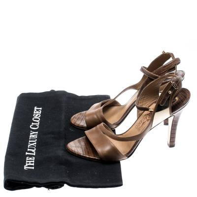 Salvatore Ferragamo Brown Leather And Lizard Leather Ankle Wrap Sandals Size 37.5 183874 - 7