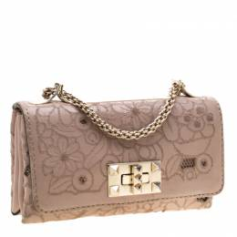 Valentino Nude Pink Leather and Lace Girello Shoulder Bag 196828