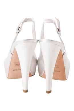 Sergio Rossi Silver Leather Peep Toe Slingback Platform Sandals Size 37 206282
