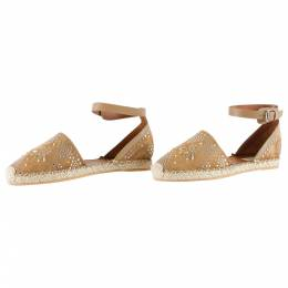 Valentino Brown Embellished Suede And Leather Ankle Strap Espadrilles Size 40 205809
