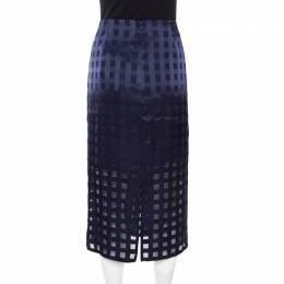 Diane Von Furstenberg Midnight Blue Sheer Panel Detail Pleated Midi Skirt L 174632