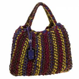 Etro Multicolor Woven Leather Shopper Tote 178752