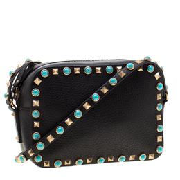 Valentino Black Leather Small Rolling Rockstud Crossbody Bag 197017