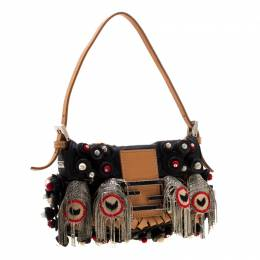 Fendi Black Embellished Micro Baguette Shoulder Bag 196970