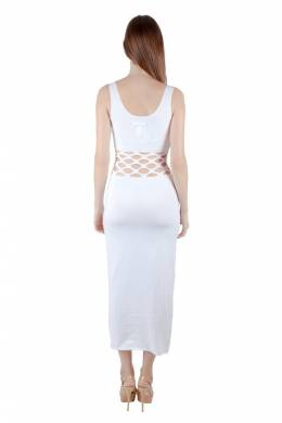 Jean Paul Gaultier Soleil White Cotton Jersey Distressed Waist Bodycon Dress S 205994