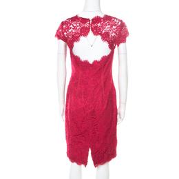 ML by Monique Lhuillier Pink Floral Lace Scalloped Trim Cut Out Back Detail Dress M 186101