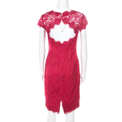 ML by Monique Lhuillier Pink Floral Lace Scalloped Trim Cut Out Back Detail Dress M 186101 - 2