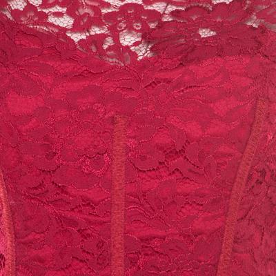 ML by Monique Lhuillier Pink Floral Lace Scalloped Trim Cut Out Back Detail Dress M 186101 - 3