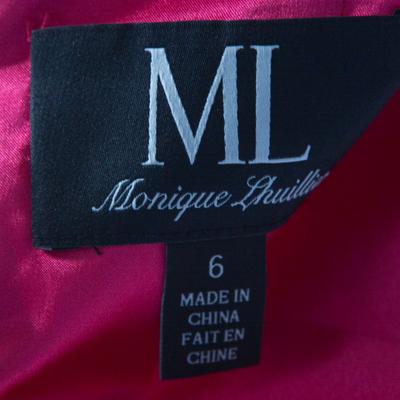 ML by Monique Lhuillier Pink Floral Lace Scalloped Trim Cut Out Back Detail Dress M 186101 - 4