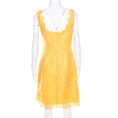 ML By Monique Lhuillier Yellow Floral Lace Scalloped Trim Detail V-Neck Dress M 186096 - 2