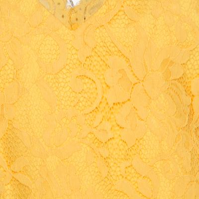 ML By Monique Lhuillier Yellow Floral Lace Scalloped Trim Detail V-Neck Dress M 186096 - 3