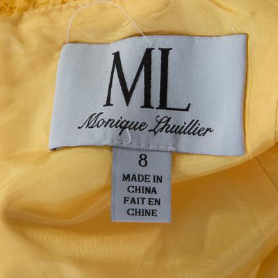 ML By Monique Lhuillier Yellow Floral Lace Scalloped Trim Detail V-Neck Dress M 186096 - 4