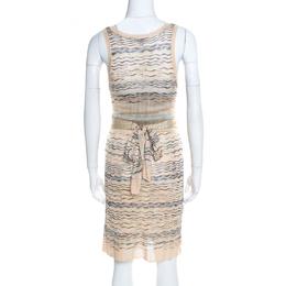 M Missoni Beige Wave Pattern Perforated Knit Wait Tie Detail Sleeveless Dress M 197298