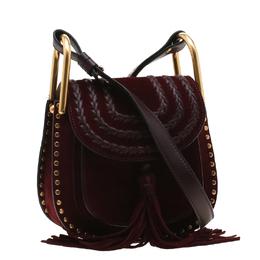 Chloe Burgundy Suede Mini Hudson Shoulder Bag 197420