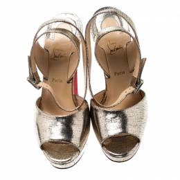 Christian Louboutin Metallic Gold Lame Textured Leather Louloudancing Ankle Strap Platform Sandals Size 37.5 197568