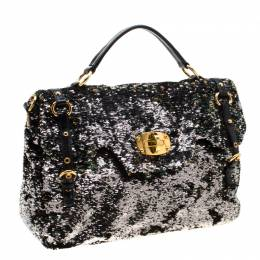 Miu Miu Multicolor Sequins and Leather Paillette Bauletto Bag 206790