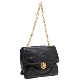 Alexander McQueen Black Croc Embossed Leather Flap Chain Shoulder Bag 206898