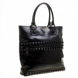 Burberry Black Glazed Leather Studded Tote 135930