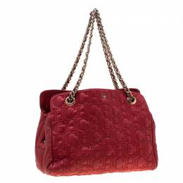 Carolina Herrera Red Monogram Leather Shoulder Bag 198722