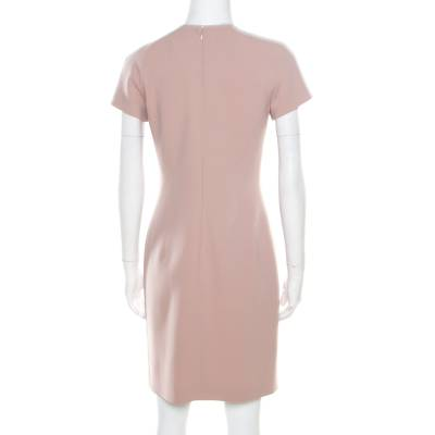 Emilio Pucci Blush Pink Wool Contrast Bodice Tie Detail Short Sleeve Dress M 186609 - 2