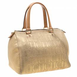 Carolina Herrera Gold Metallic Leather Andy Boston Bag 206994