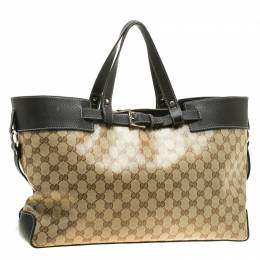 Gucci Beige/Dark Brown GG Crystal Canvas and Leather Belt Tote 198319