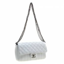 Chanel White Quilted Leather Multi Chain Flap Bag 207226