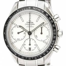 Omega White Stainless Steel Speedmaster Racing Men's Wristwatch 40MM 150686