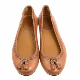 Gucci Brown Leather Fringe Detail Round Toe Ballet Flats Size 37.5 167063
