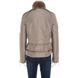 Valentino Brown Mink Fur Collar Detail Zip Front Jacket M 182910